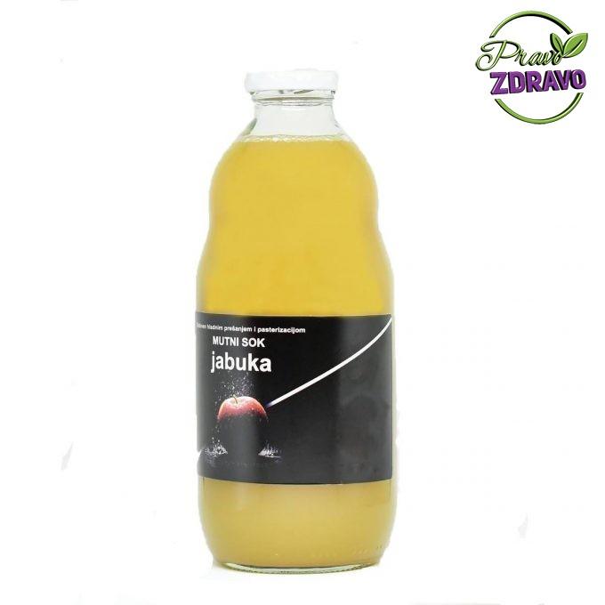 Staklena boca od 1l u kojem se nalazi prirodni sok od jabuke.