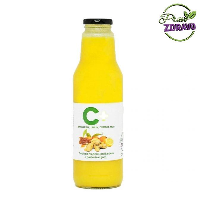 Vitamin C sok. Sok od mandarine i limuna u staklenoj boci 0,75l