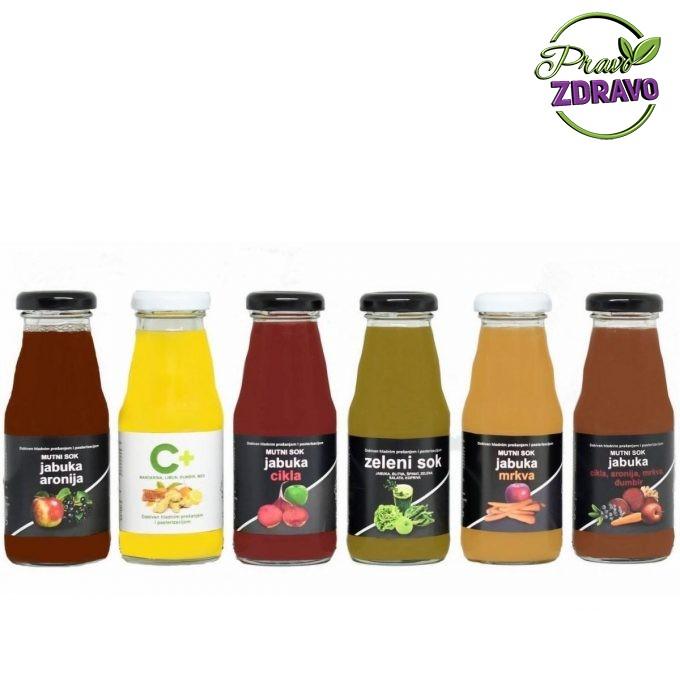 Hladno prešani sokovi u šest različitih kombinacija vrste soka u boci od 1l