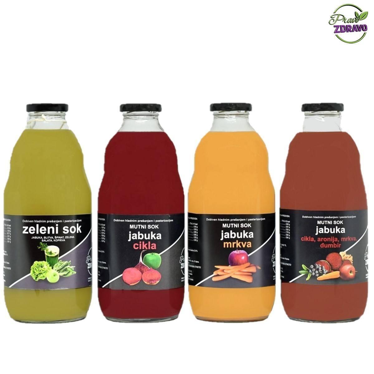 Četri soka u staklenim bocama od 1 litar. Zeleni, crveni, narančasti i mutno crveni sok.