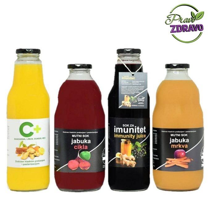 Antioksidanti u našim sokovima - četiri vrste soka u boci od 1l. Žuti sok od mandarine i limuna, crni sok od aronije,crveni sok od jabuke i cikle i narančasti sok od jabuke i mrkve.