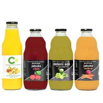 Sokovi od voća i povrća - Četiri vrste soka od voća i povrćau boci od 1l.