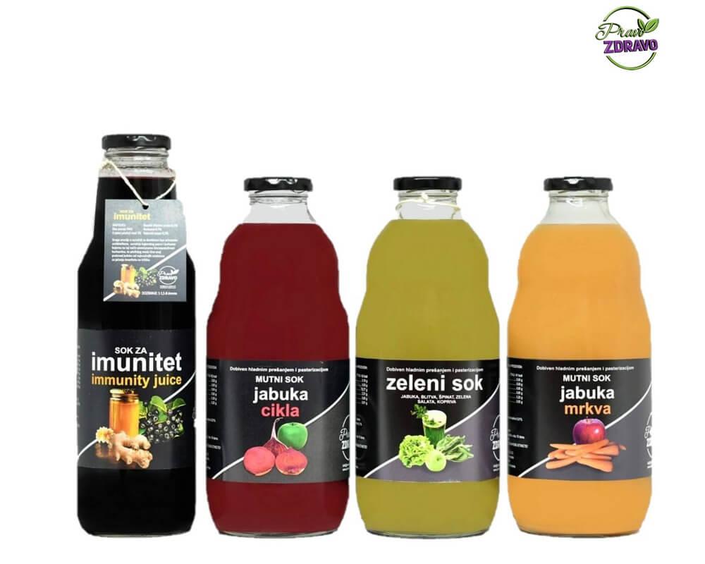 Sokovi za jačanje imuniteta, aronija, cikla, zeleni sok i sokod mrkve u 4 staklene boce