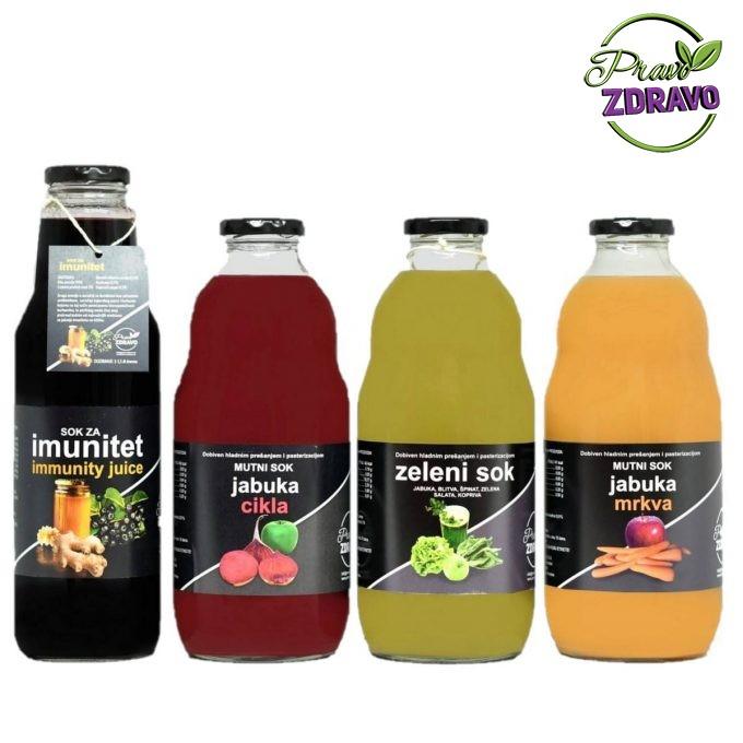 Imunitet paket - Četiri vrste soka u boci od 1l. Crni od aronije , crveni sok od jabuke i cikle, zeleni sok za detoksikaciju i narančasti sok od jabuke i mrkve