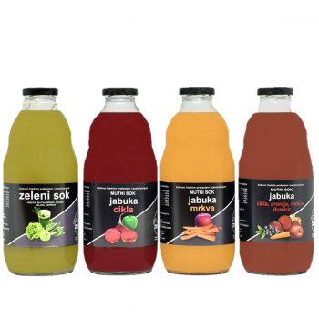 Detox paket - Četri vrste prirodnog soka u boci od 1l. Zeleni sok od povrća, crveni sok od od jabuke i cikle, narančasti sok od jabuke i mrkve i mutno crveni sok od jabuke,aronije,mrkve ,cikle i đumbira.